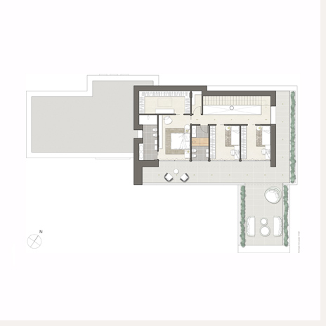 Excellent villa eurosia pianta arredata piano primo with for Piante di ville moderne